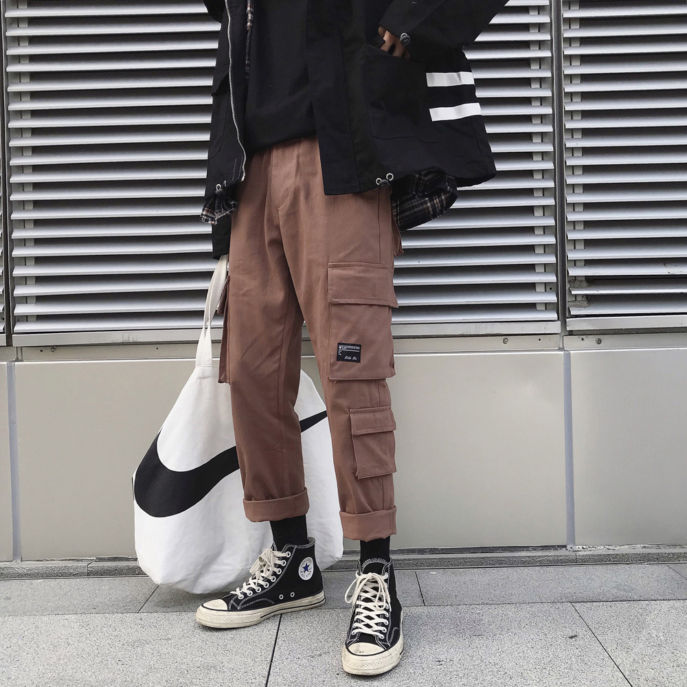 2019 Spring Bib Overall Men's Multi-pockets Straight-Leg Trousers Students Trend Versatile Solid Color Harem Pants Casual Pants
