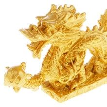 Figurines et Statue de Dragon chanceux de 5 ''| Sculpture d'animaux de Dragon d'or, pour décor de mariage, pour la maison, le bureau