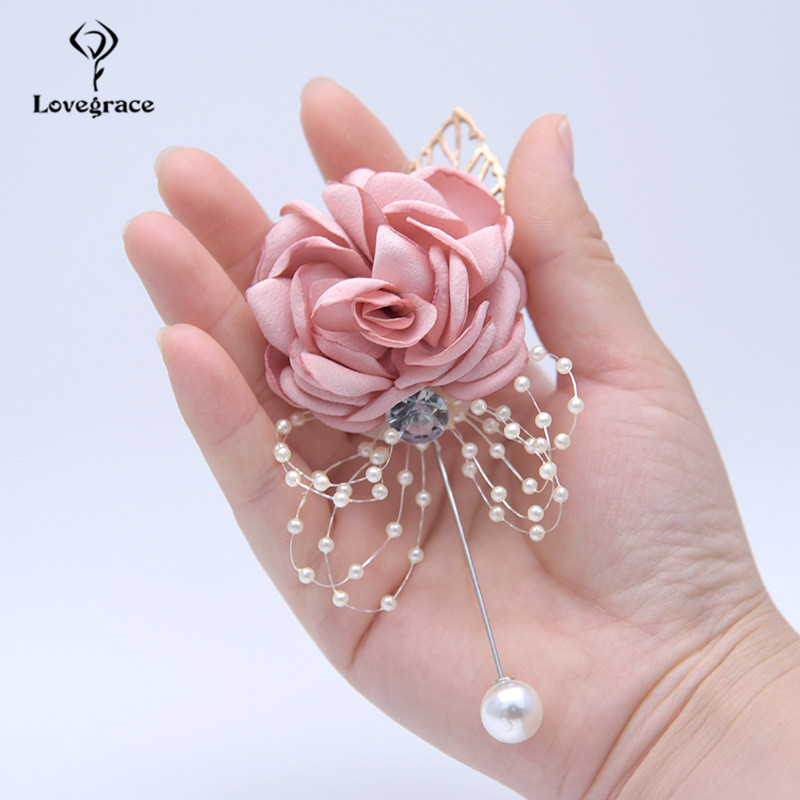 Silk Flower Wrist Corsage Bracelets For Bridesmaid Rhinestone Brooch Flower Corsage Wedding Men Boutonniere Marriage Accessories