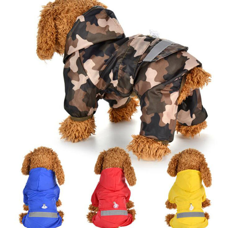 Pet Dog Camouflage Raincoat Two Feet Reflective Jumpsuit Pet Supplies Puppy Raincoat Cat Coat Supplies For Small Large Dogs