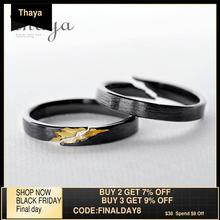 Thaya S925เงินสเตอร์ลิงCrackแหวนโบราณสีดำไม้GrainหญิงHandmade Stackableสำหรับสตรีแฟชั่นเครื่องประดับ