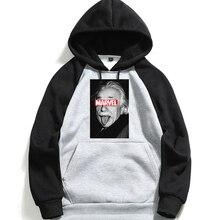 Men's Hooded Sweatshirt Brand  Einstein Marvel Letter Print Long Sleeve Hoodies Man Cotton Hoodie Fleece White  2019 цена 2017