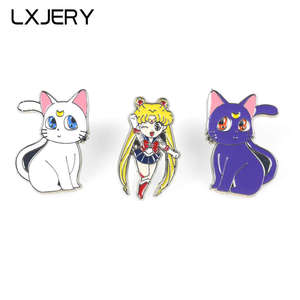 LXJERY Cartoon Sailor Moon Pin Badge On Backpack Anime Brooch Pins For Clothes Broche For Women Girl Schoolbag