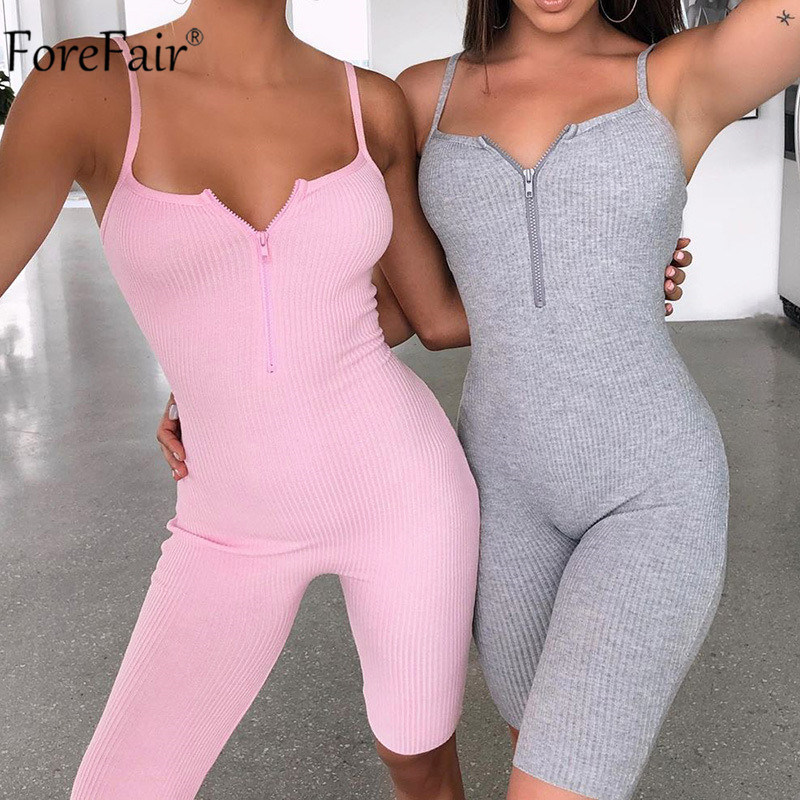 Forefair V Neck Zip Up Women Bodysuit Summer Spaghetti Strap Casual Romper Backless Sexy Sports Playsuits