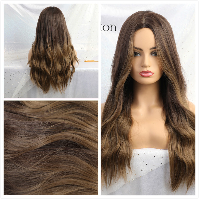 ALAN EATON Ombre Wavy Wigs Black Brown Blonde Middle Part Cosplay Synthetic Wigs with Bangs For Women Long Hair Wigs Fake Hair 6