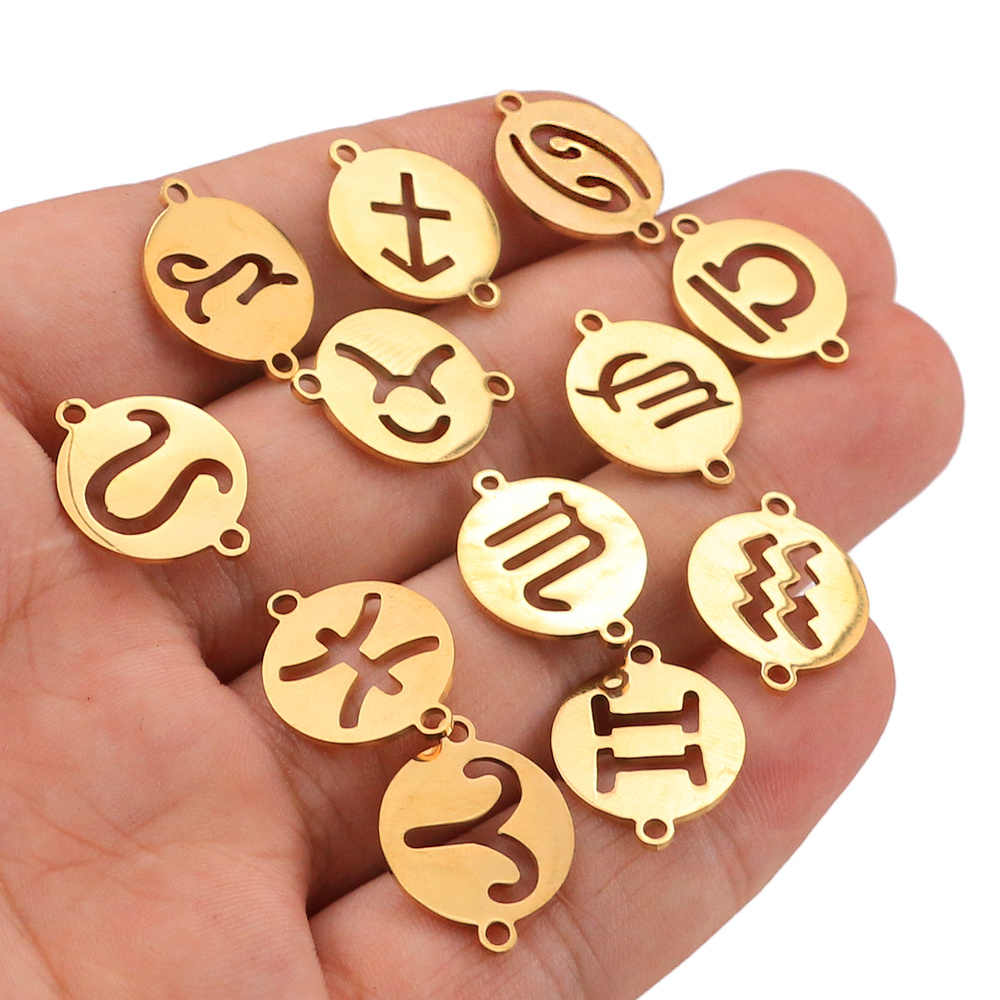 5pcs/lot Stainless Steel Charm Pendants 12 Constellations DIY Connector Earring Bracelet Necklace Jewelry Findings Making