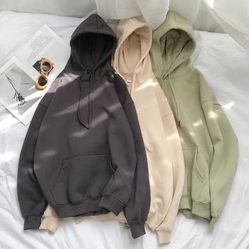Hip hop easy Woman's Solid 13 Colors Korean Hooded Sweatshirts Female 2020 Cotton Thicken Warm Hoodies Lady Autumn Fashion Tops new autumn winter hooded sweater women solid korean sweatshirts female 2020 cotton thicken warm hoodies couple loose coat