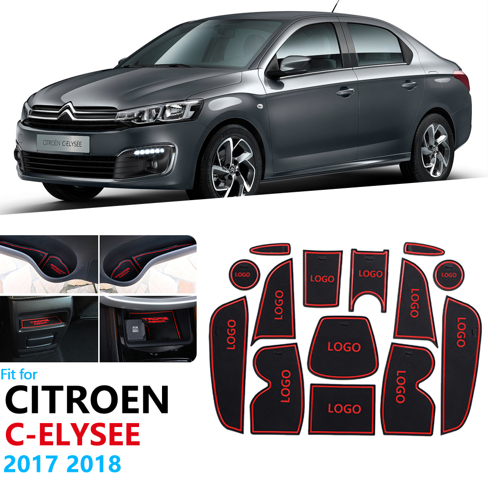 Anti-Slip Rubber Gate Slot Cup Mat For Citroen C-Elysee 2017 2018 C Elysee CElysee Facelift Accessories Car Stickers 14PCS