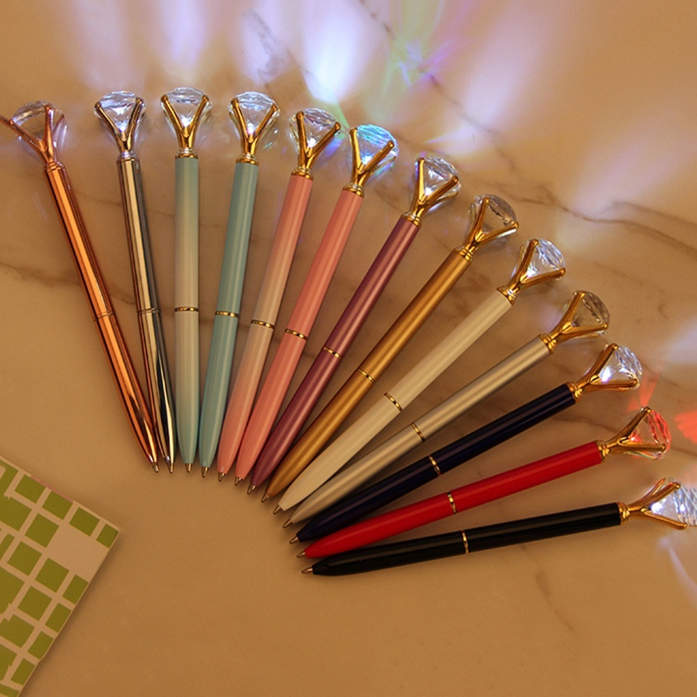 1Pc Metal Ballpoint Pen Black Ink With Big Crystal Diamond 6 Color New