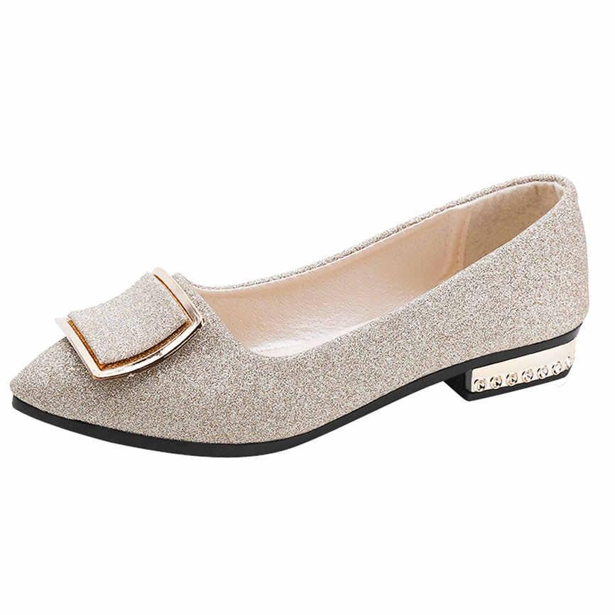 Giày Nữ Nữ Kim Sa Lấp Lánh Nông Vuông Khóa Trượt Thấp Gót Nhọn Giày Đơn Nữ Da Dày Đơn Shoea #18