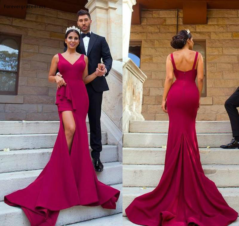 Hot Burgundy   Prom     Dress   Backless Arabic V Neck Long Formal Holiday Wear Party Gown Plus Size