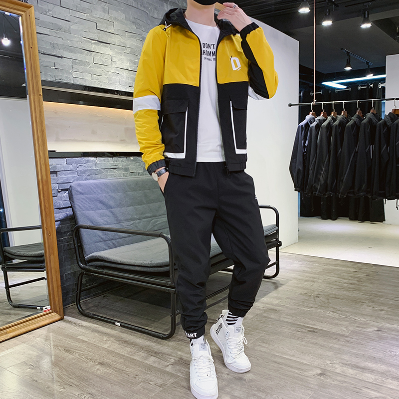 Men's Sportswear Sets Autumn Polyester Fashion Men Two Piece Set Fashion Winter Tuta Sportiva Uomo Pants Sweatshirt Male HH50TZ