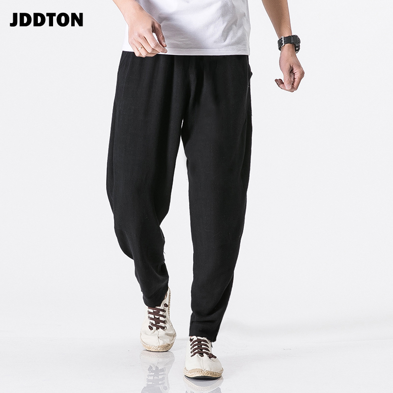 JDDTON Men Cotton Linen Harem Belt Pants Jogger Trousers Traditional Casual Loose Chinese Style Bloomers Fashion Trousers JE126