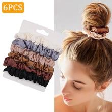 6 pçs mulheres moda scrunchies cetim seda laços de cabelo corda meninas rabo de cavalo suportes de borracha elástico hairband acessórios de cabelo
