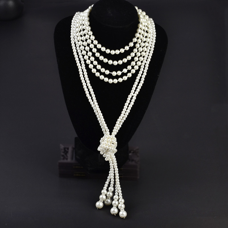15 Ecoparty Art Deco Fashion Faux Pearls Necklace 1920s Flapper Beads Cluster Long Pearl Necklace For Gatsby Costume Party