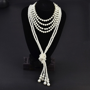 15 Ecoparty Art Deco Fashion Faux Pearls Necklace 1920s Flapper Beads Cluster Long Pearl Necklace for Gatsby Costume Party(China)