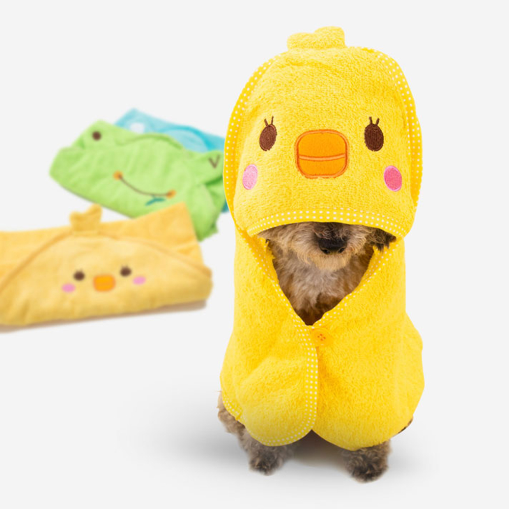 Cute Pet Dog Cat Towel Pets Drying Bath Towels with Hoodies Warm Blanket Soft Drying Cartoon Puppy Super Absorbent Bathrobes 1