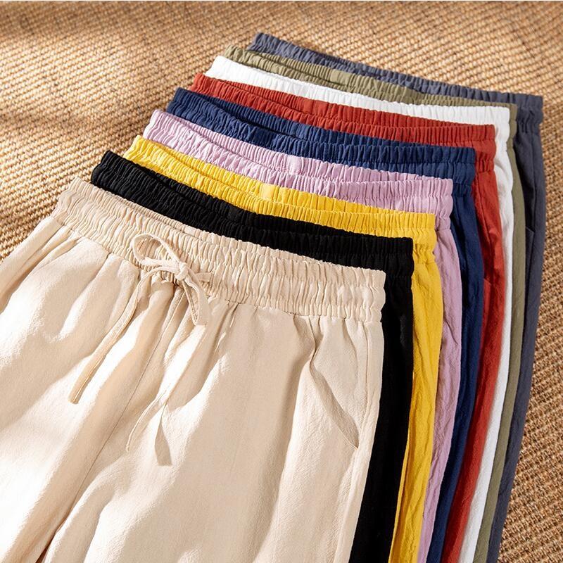 Womens Candy Color Ankle-Length Pants Summer Cotton Linen Harem Pants Solid Soft High Quality Trousers Plus Size M-5xl 6xl 7xl