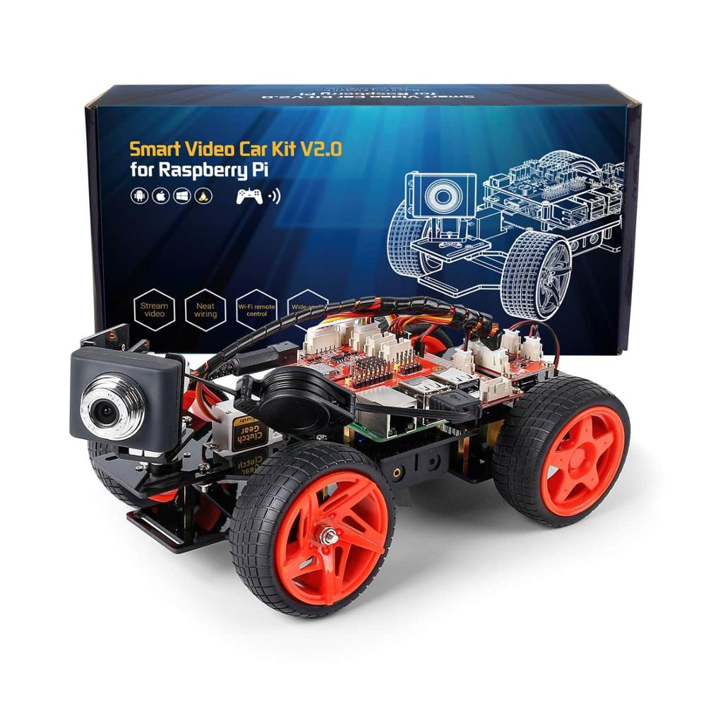 SunFounder App Remote Controlled Robot For Raspberry Pi Model 4B 3B+ B 2B Smart Video Car Kit V2.0 RC Car (RPi Not Included)