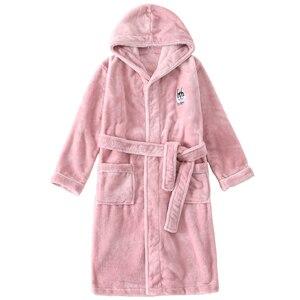 Image 5 - Новое поступление, зимний банный халат для детей, фланелевый Теплый удлиненный халат, утепленный Халат с капюшоном для девочек и мальчиков, бархатные пижамы кораллового цвета