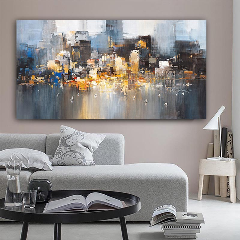 City Building Rain Boat Pictures Abstract Art Canvas Painting Modern Decoration Oil Painting Wall Picture For Room NO FRAME image