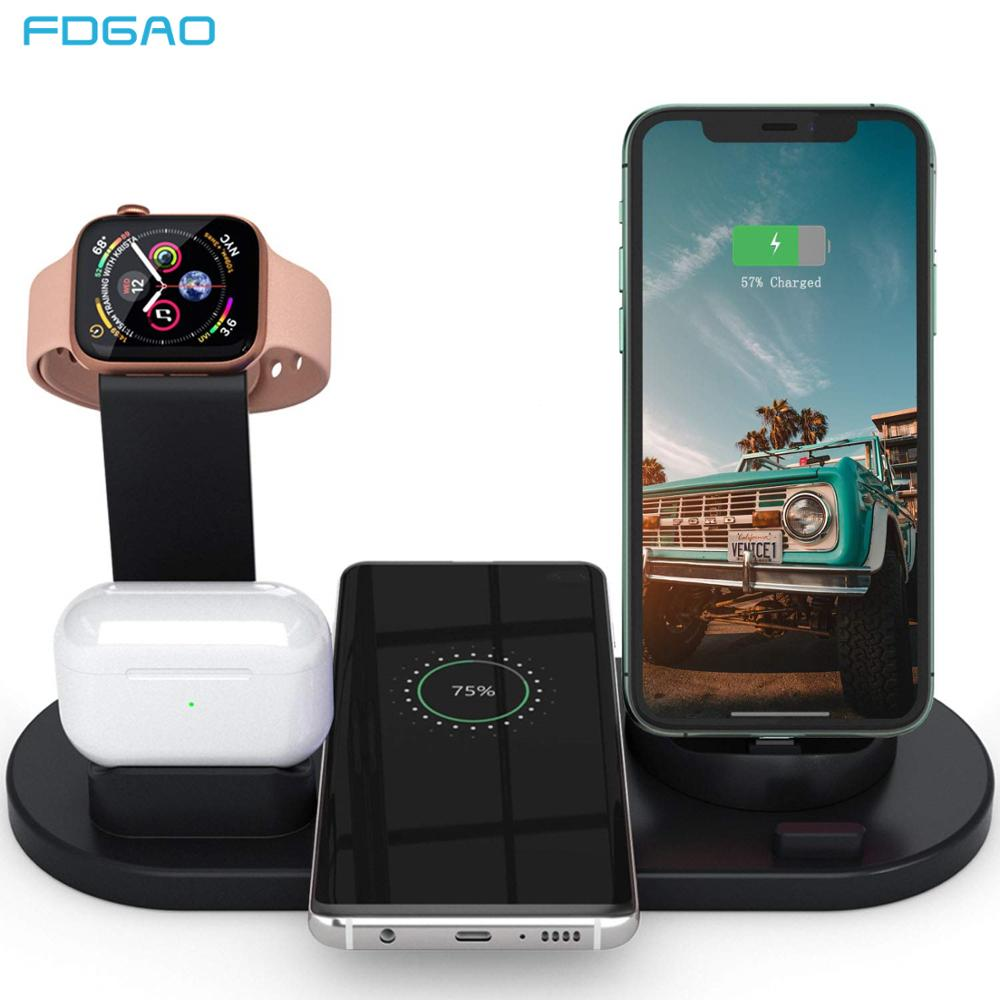FDGAO 10W Qi Fast Wireless Charger 6 in 1 Charging Dock Station for Apple Watch 5 4 3 Airpods Pro Stand for iPhone 11 XS XR X 8