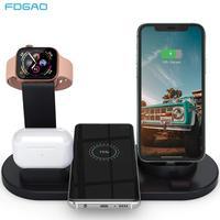 Fdgao 10 w qi rápido carregador sem fio 4 em 1 estação doca de carregamento para apple watch 5 4 3 airpods pro suporte para iphone 11 xs xr x 8|Carregadores sem Fio| |  -