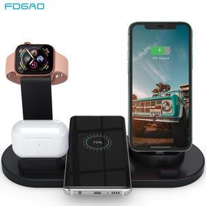Image 1 - Fdgao 10 w qi rápido carregador sem fio 6 em 1 estação doca de carregamento para apple watch 5 4 3 airpods pro suporte para iphone 11 xs xr x 8