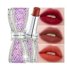 1Pcs Bow-tie Matte Moisturizing Lip Balm Waterproof Silky Lasting Silk Lipstick Cosmetic Tools Fashion Rhinestone Matte Lipstick