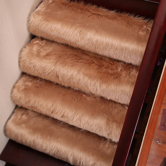 6Pcs Luxury Faux Wool Fluffy Carpet Stair Rug Rotating Stair Step   Mink Carpet On Stairs   Design   Step   Grey   Open Plan   Taupe Painted