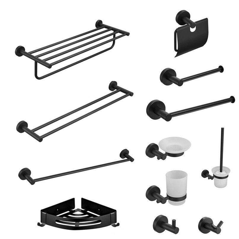 Modern Bathroom Black Hardware Set 304 Stainless Steel Towel Rack Paper Towel Holder Towel Bar Hook Bathroom Accessories