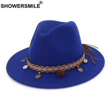 SHOWERSMILE Blue Felt Fedoras Hats for Women Wool Trilby Hat Female Wide Brim Casual Ladies Winter Ethnic Style Pork Pie Hat kyqiao mexican style ethnic vintage black blue embroidery flowers bandanas 2017 women winter original hippie hat free shipping