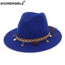 SHOWERSMILE Blue Felt Fedoras Hats for Women Wool Trilby Hat Female Wide Brim Casual Ladies Winter Ethnic Style Pork Pie Hat(China)