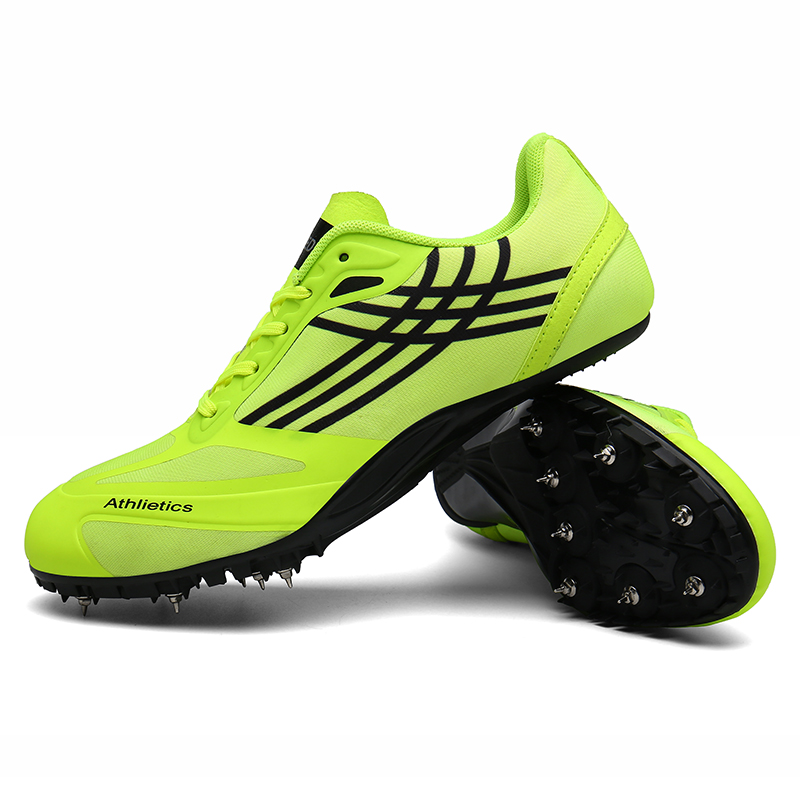 Новая спортивная обувь для тренировок и тренировок для мужчин и женщин, Профессиональная беговая Беговая беговая Обувь, мягкие шипы, кроссовки 35-45 - Цвет: Зеленый