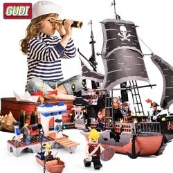 GUDI Pirates Caribbean Black Pearl Ghost Ship large Models Building Blocks educational Bricks Birthday Toy Compatible