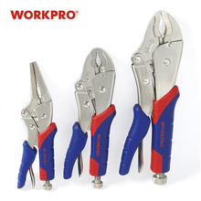 WORKPRO 3PC Locking Plierชุดคีมปากคีบโค้งตรงคีมล็อคคีม
