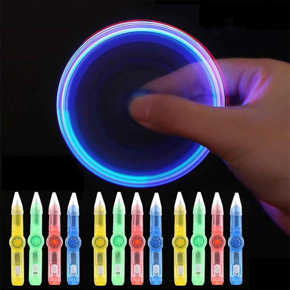 LED Colourful Luminous Spinning Pen Rolling Pen Ball Point Pen Learning Office Supplies Interactive Toy Random Color for Kids