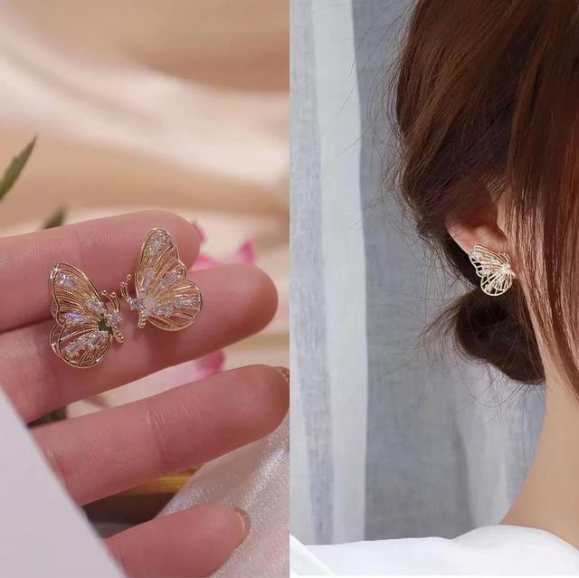 MENGJIQIAO New Fashion Cute Rhinestone Gold Color Butterfly Stud Earrings For Women No Piercing Fake Cartilage.jpg 640x640 - MENGJIQIAO New Fashion Cute Rhinestone Gold Color Butterfly Stud Earrings For Women No Piercing Fake Cartilage Earring Gifts