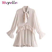 Women Long Sleeve Shirts 2019 Korean Chic Solid Bow Tie Collar Ruffles Sweet See Through Tops and Blouses