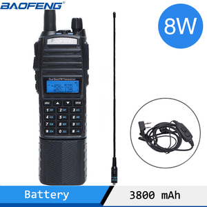 Image 1 - Baofeng UV 82 Plus Walkie Talkie 8W Powerful 3800 mAh Battery DC Connector UV82 Dual PTT Band two way radio 771 tactical Antenna