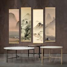 Quadro nórdico de tela com impressão, pendurado na parede com pintura de rolagem, pintura de paisagem chinesa com tinta e arte para sala de estar