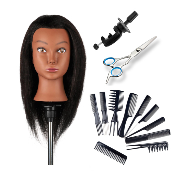16'' Afro Female Manikin Training Head with 100% Real Human  Hair for Beauty School Training and Barber Practice Mannequin Head 14 90% male real hair mannequin practice training head with beard barber hairdressing manikin doll head for beauty school