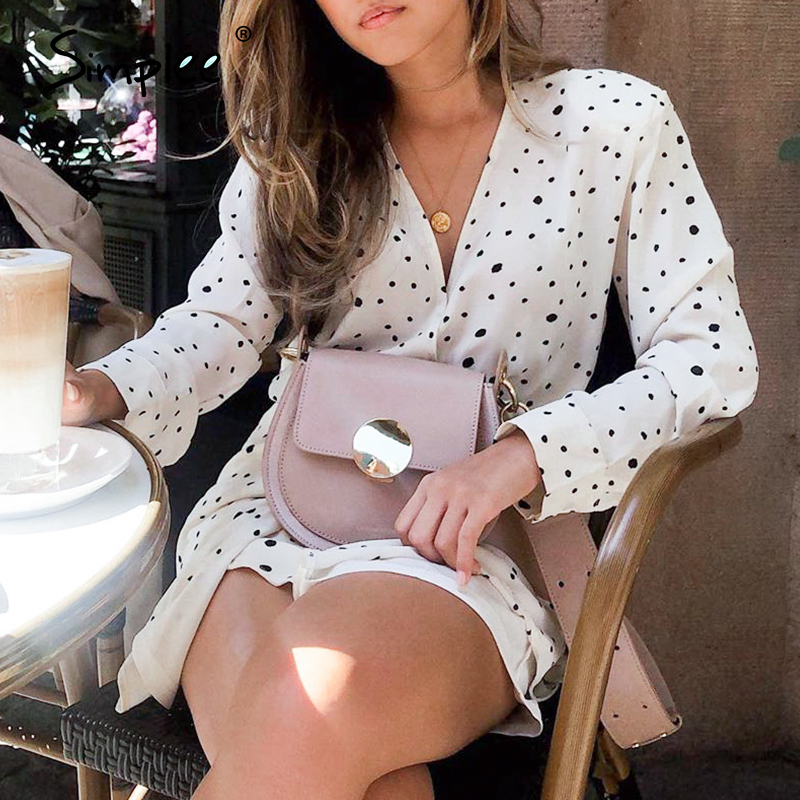 Simplee Vintage Polka Dot Chiffon Women Summer Dress Casual V Neck Spring Wrap Dresses White Elegant Long Sleeve Dress Vestidos
