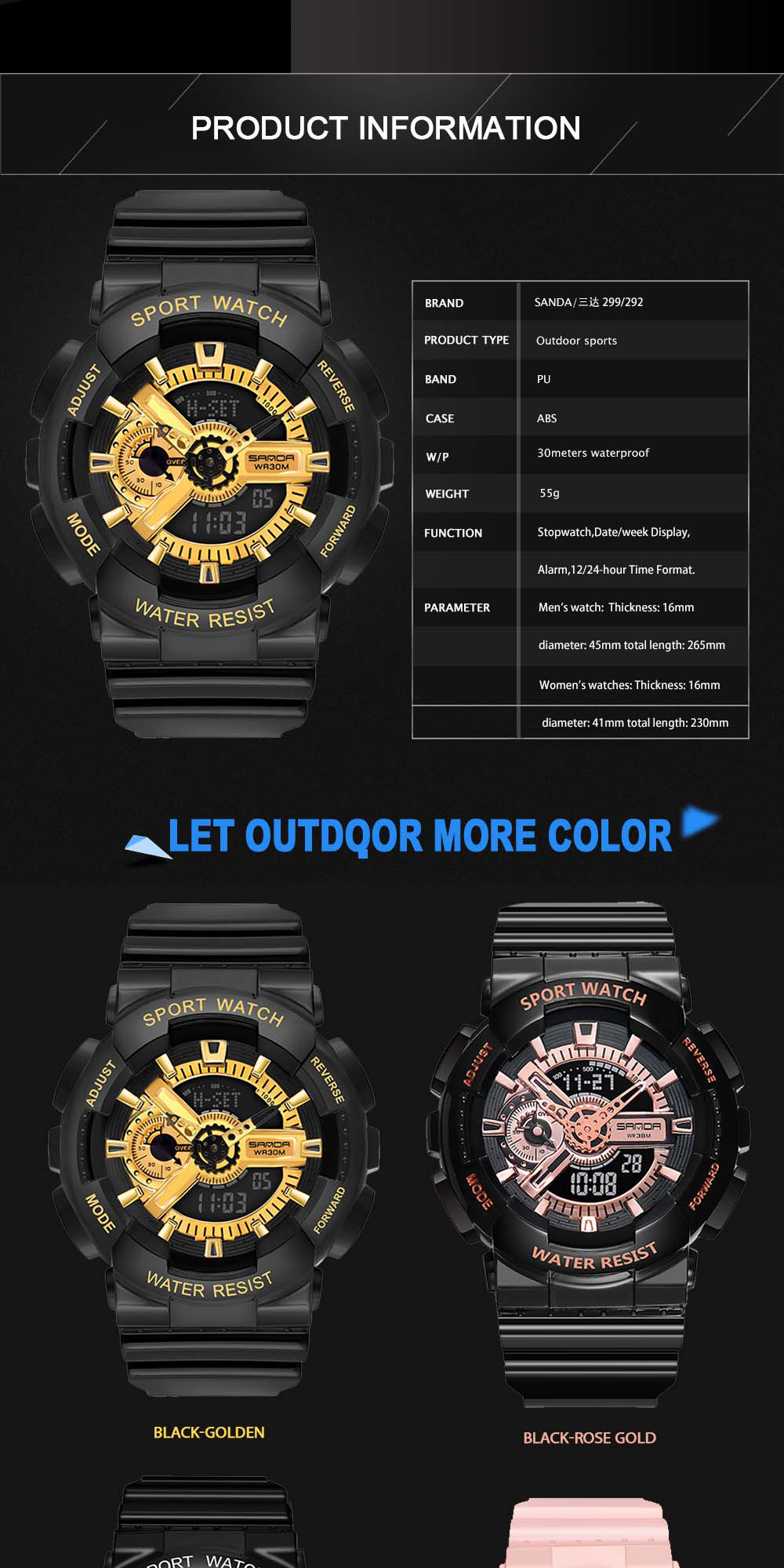 H6f09fa1c0d6c4600b2dd0601ab0bf4c7k 2020 SANDA Military Men's Watch Brand Luxury Waterproof Sport Wristwatch Fashion Quartz Clock Couple Watch relogio masculino
