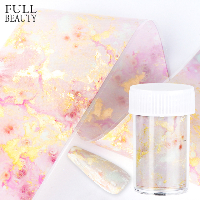 Gradient Marble Transfer Sticker for Nail Foil Pink Blue Paper Shinning Slider Nail Stripe Wraps DIY Adhesive Manicure CH1575