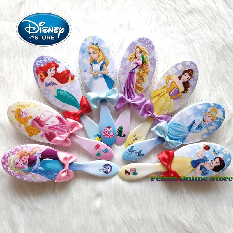 Disney reine des neiges enfants peigne dessin animé coussin d'air Massage peigne Disney princesse Elsa Ariel Belle peigne accessoire fille cadeau d'anniversaire