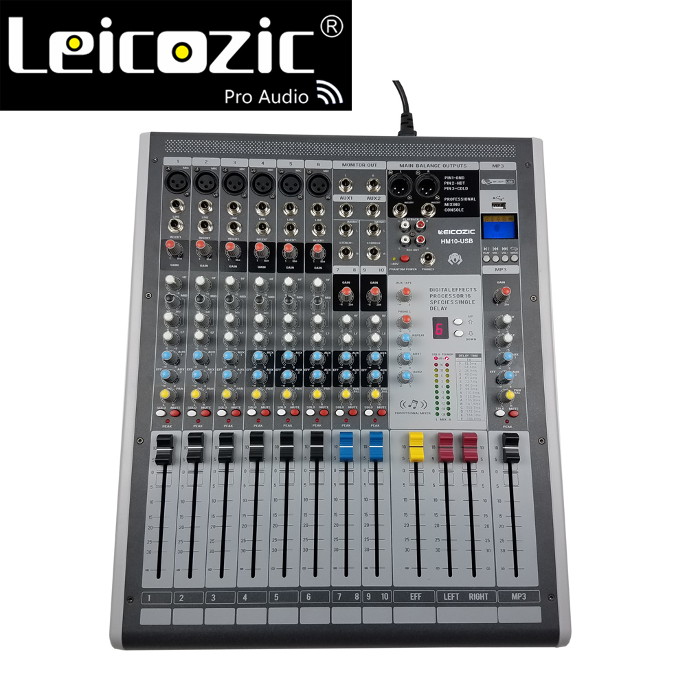 Leicozic HM10-USB 6 Channel Mixer Audio with digital effects processor professional mixing console for stage/church/DJ equipment