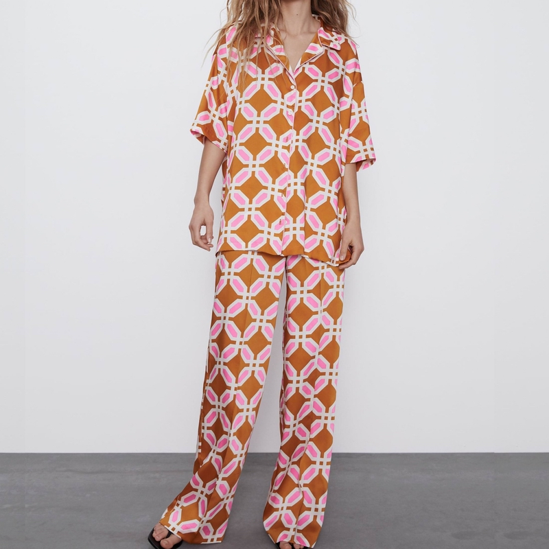 Women Shirt And Pant Spring 2020 New Fashion Prints Loose Blouse And Pants Modern Lady 2 Pieces Set