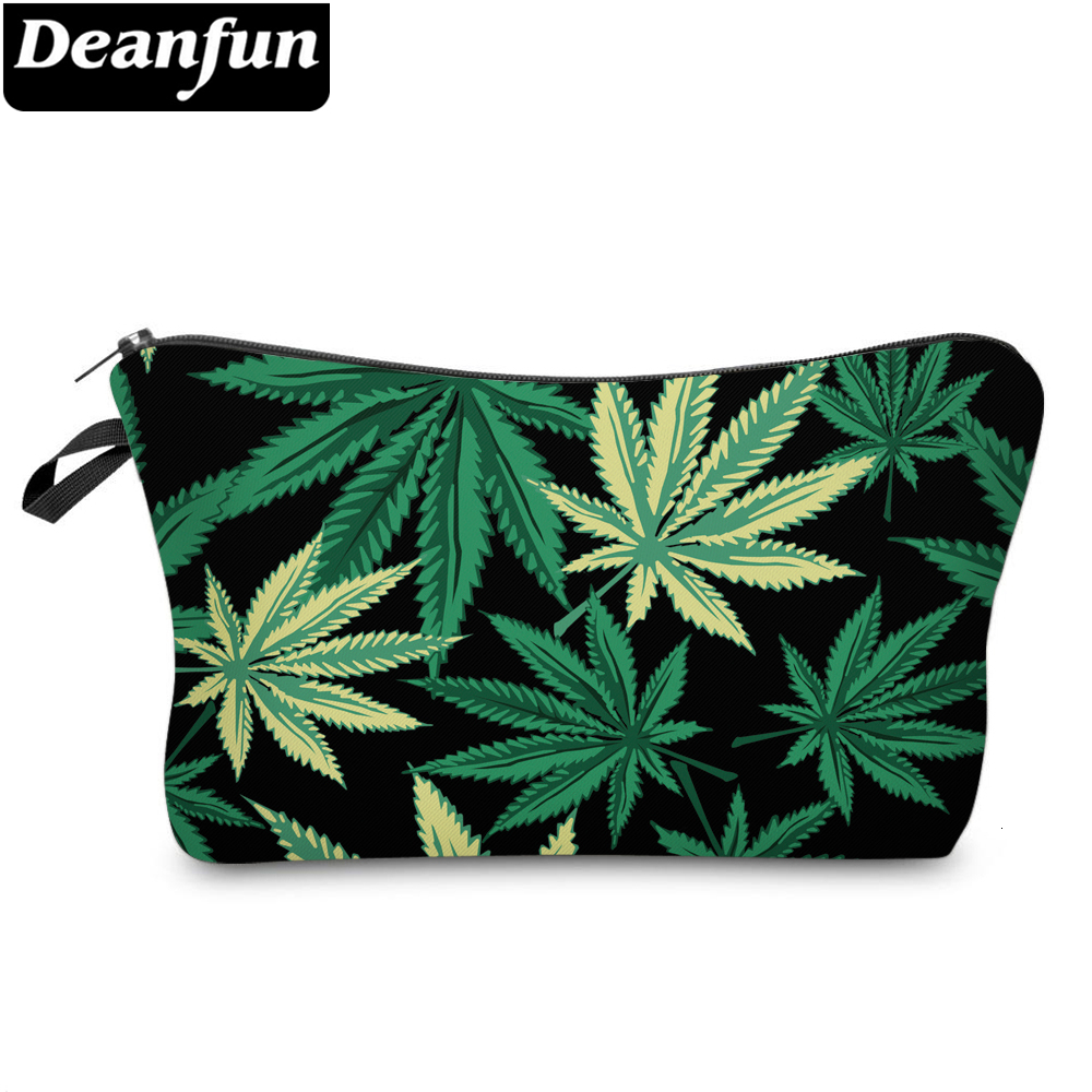 Deanfun Green Printing Small Makeup Bag Makeup Bags For Purses Black Weed Cute Makeup Bags For Women 36945