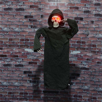 Halloween Hanging Ghost Scary Voice Glowing Eyes Skull Face Thriller Toys for Halloween Party Haunted House Room Escape Prank